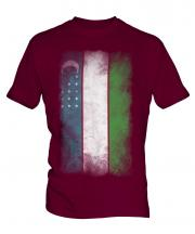 Uzbekistan Faded Flag Mens T-Shirt