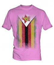 Zimbabwe Faded Flag Mens T-Shirt