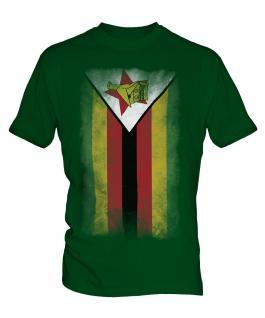 Zimbabwe Faded Flag Mens T-Shirt