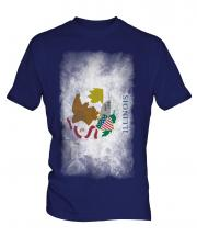 Illinois State Faded Flag Mens T-Shirt