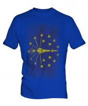 Indiana State Faded Flag Mens T-Shirt