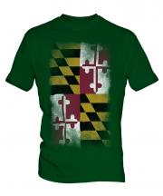 Maryland State Faded Flag Mens T-Shirt