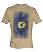 Vermont State Faded Flag Mens T-Shirt