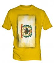 West Virginia State Faded Flag Mens T-Shirt