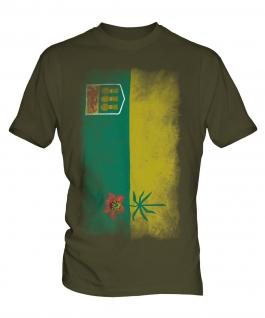 Saskatchewan Faded Flag Mens T-Shirt