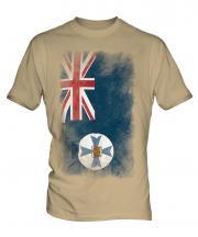 Queensland Faded Flag Mens T-Shirt