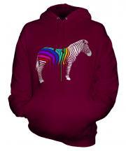 Rainbow Painted Zebra Unisex Adult Hoodie