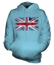 Union Jack Distressed Flag Unisex Adult Hoodie