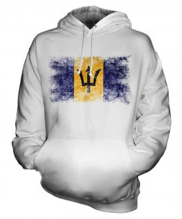Barbados Distressed Flag Unisex Adult Hoodie