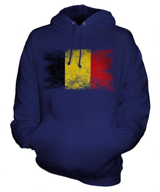 Belgium Distressed Flag Unisex Adult Hoodie