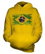 Brazil Distressed Flag Unisex Adult Hoodie