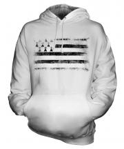 Brittany Distressed Flag Unisex Adult Hoodie