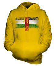 Central African Republic Distressed Flag Unisex Adult Hoodie