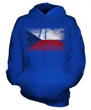 Czech Republic Distressed Flag Unisex Adult Hoodie