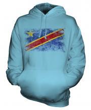 Democratic Rep. Of Congo Distressed Flag Unisex Adult Hoodie