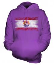French Polynesia Distressed Flag Unisex Adult Hoodie