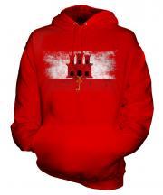 Gibraltar Distressed Flag Unisex Adult Hoodie