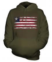 Liberia Distressed Flag Unisex Adult Hoodie
