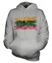 Lithuania Distressed Flag Unisex Adult Hoodie