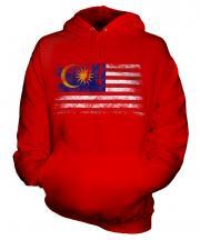Malaysia Distressed Flag Unisex Adult Hoodie
