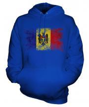 Moldova Distressed Flag Unisex Adult Hoodie