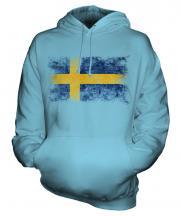 Sweden Distressed Flag Unisex Adult Hoodie