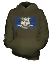 Connecticut State Distressed Flag Unisex Adult Hoodie