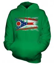 Ohio State Distressed Flag Unisex Adult Hoodie