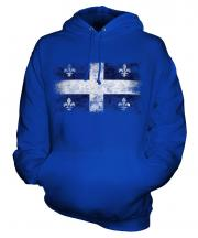 Quebec Distressed Flag Unisex Adult Hoodie